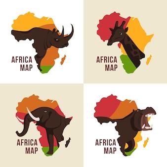 아프리카지도 로고 세트