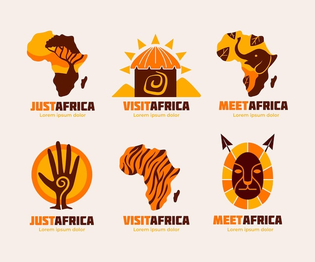 Africa map logo template pack