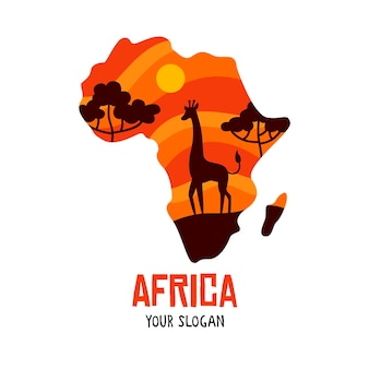 Africa map logo with giraffe