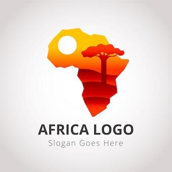 슬로건 자리 표시자가있는 아프리카지도 로고