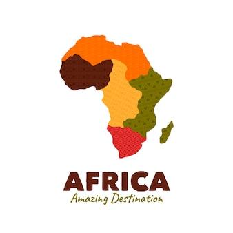태그 라인이있는 아프리카지도 로고