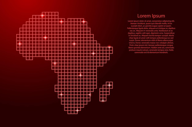 Africa map silhouette from red mosaic structure squares and glowing stars. vector illustration.