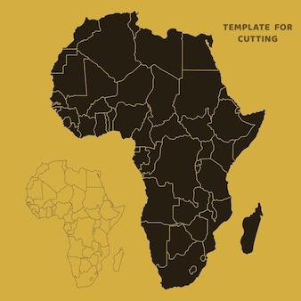 Карта африки шаблон для лазерной резки, резьбы по дереву, вырезки из бумаги. силуэты для вырезания. трафарет вектора карты африки.