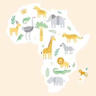 귀여운 아프리카 동물원 동물과 아프리카지도 프리미엄 벡터