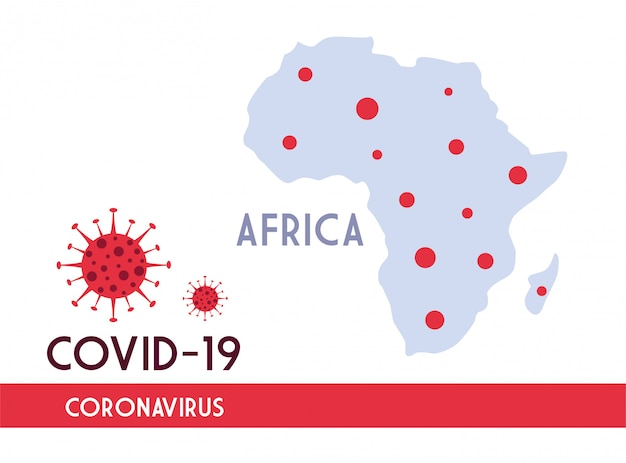 Africa map with the propagation of the covid 19