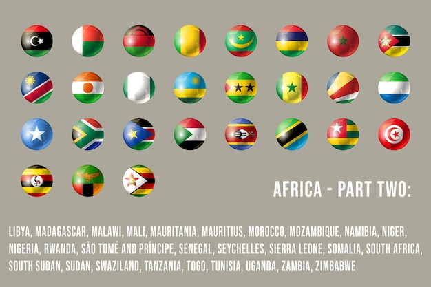 Africa round flags