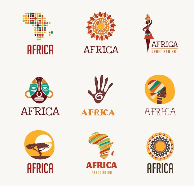 Africa, safari logo  set