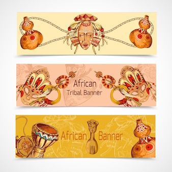 Africa sketch colored banners horizontal