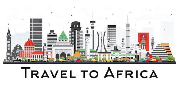 유명한 랜드마크가 있는 아프리카 스카이라인. 벡터 일러스트 레이 션. 비즈니스 여행 및 관광 개념입니다. 프레젠테이션, 배너, 현수막 및 웹 사이트용 이미지.