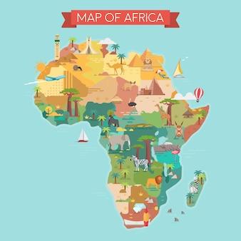 有名なランドマークのあるアフリカの観光マップ。ベクトルイラスト。
