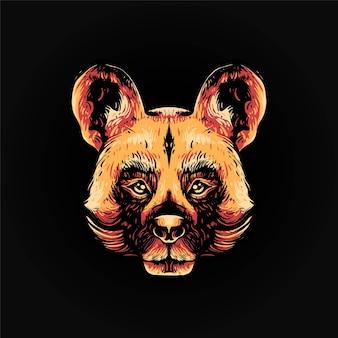 アフリカの野生の犬の頭のベクトル図、tシャツやプリント製品に適したモダンな漫画のスタイル