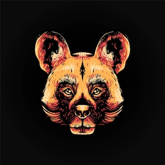Africa wild dog head vector illustration, modern cartoony style suitable for t shirt or print products