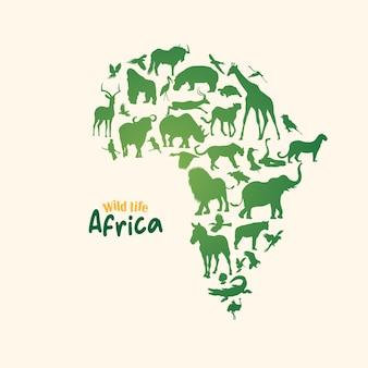 Карта дикой природы африки с силуэтом животных
