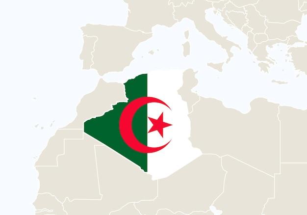 Африка с выделенной картой алжира. векторные иллюстрации.
