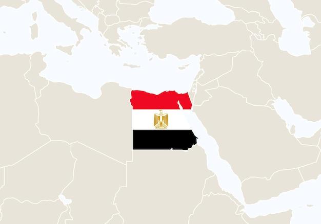 강조 표시된 이집트 지도가 있는 아프리카. 벡터 일러스트 레이 션.