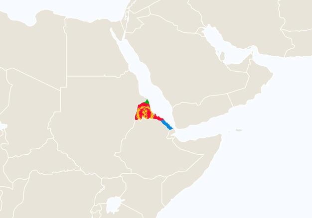 Африка с выделенной картой эритреи. векторные иллюстрации.
