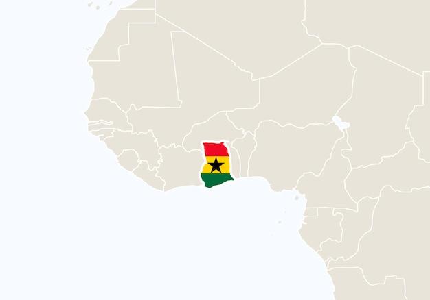 강조 표시된 가나 지도가 있는 아프리카. 벡터 일러스트 레이 션.