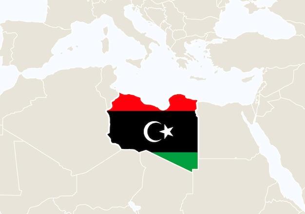 Африка с выделенной картой ливии. векторные иллюстрации.