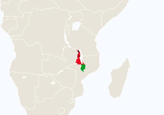 強調表示されたマラウイの地図を持つアフリカ。ベクトルイラスト。