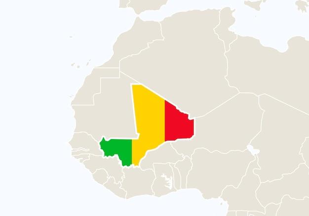 マリの地図が強調表示されたアフリカ。ベクトルイラスト。