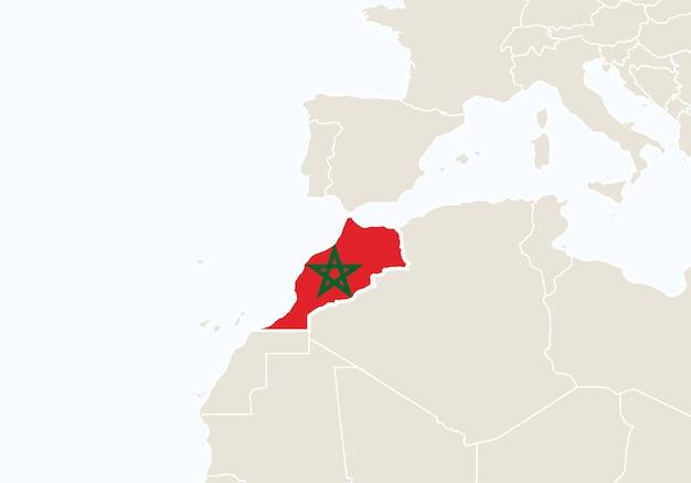 강조 표시된 모로코 지도가 있는 아프리카. 벡터 일러스트 레이 션.