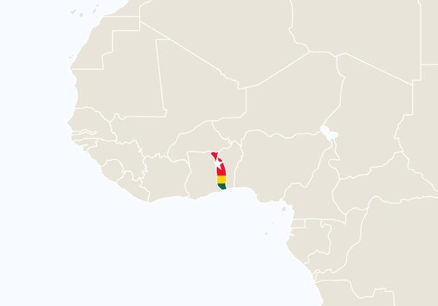 강조 표시된 토고 지도가 있는 아프리카. 벡터 일러스트 레이 션.