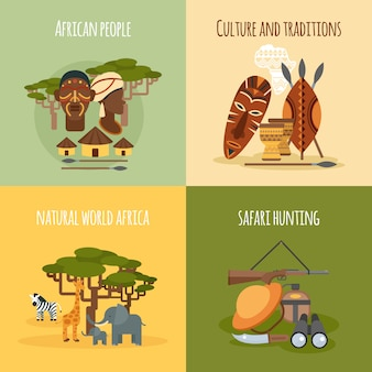 African 4 flat icons square composition