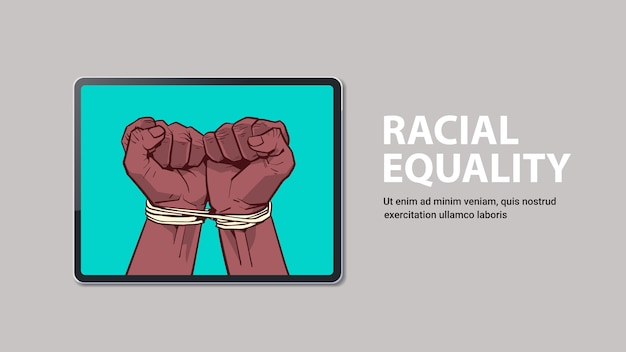 African american black fists tied with rope on laptop screen stop racism racial equality black lives matter copy space