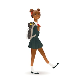 African american, black skinned schoolgirl flat vector illustration isolated.