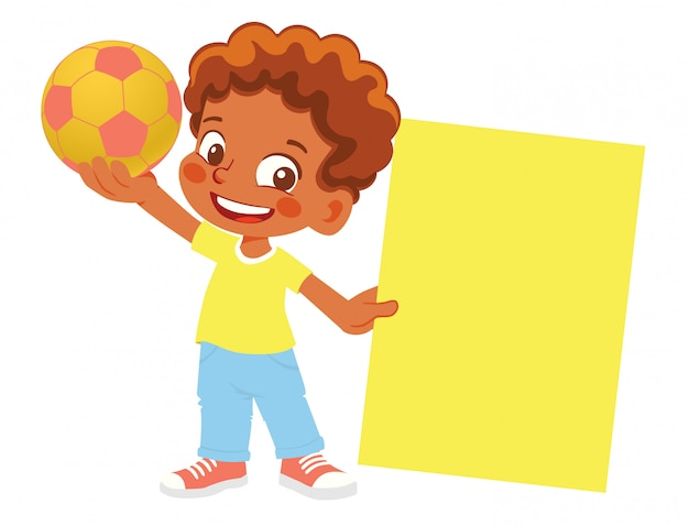 アフリカ系アメリカ人の少年はサッカーボールとバナーを保持しています。