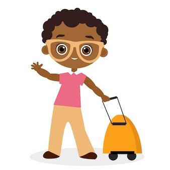 眼鏡とリュックサックの旅行を持つアフリカ系アメリカ人の少年。ナップザックを持って旅行する。白い背景で隔離のベクトルイラストeps10。フラットな漫画のスタイル。