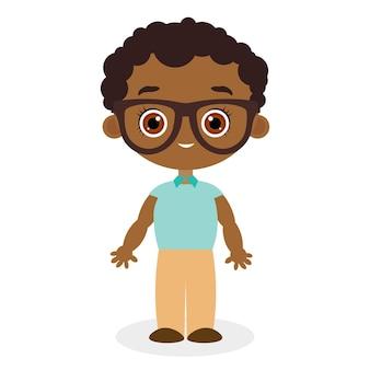 眼鏡をかけたアフリカ系アメリカ人の少年。白い背景で隔離のベクトル図eps10。フラット漫画スタイル