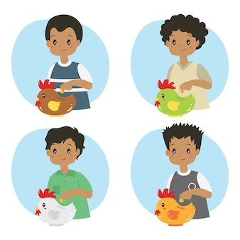 African american boys saving money in a rooster coin bank vector set