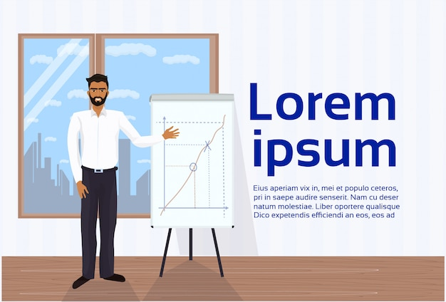 African american business man leading presentation showing data on flip chart board in office. text template