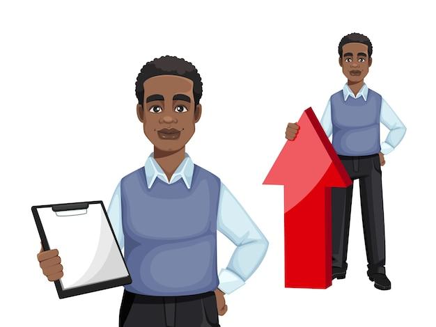 アフリカ系アメリカ人のビジネスマン、2つのポーズのセット
