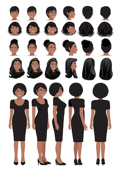 African american business woman cartoon character in black dress