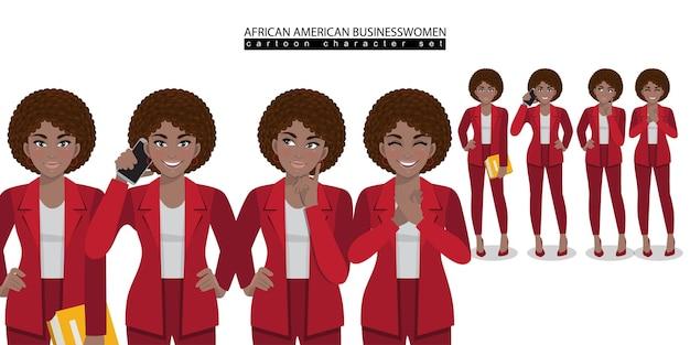 さまざまなポーズのベクトルでアフリカ系アメリカ人のビジネス女性の漫画のキャラクター