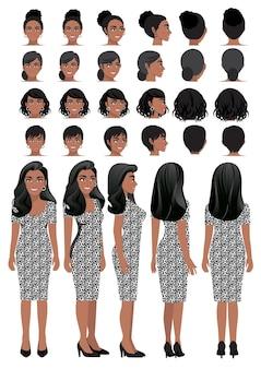 레오파드 프린트 드레스에 아프리카 계 미국인 비즈니스 여자 만화 캐릭터