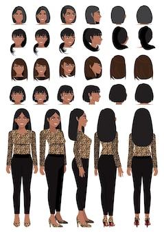 레오파드 프린트 셔츠에 아프리카 계 미국인 비즈니스 여자 만화 캐릭터
