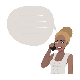 アフリカ系アメリカ人のビジネス女性が携帯電話で話しています。スタイルのイラスト