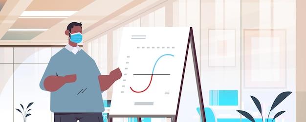 フリップチャートビジネスプレゼンテーションの概念現代オフィスインテリアイラストで財務グラフを提示するマスクのアフリカ系アメリカ人ビジネスマン