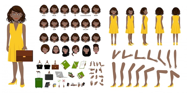 African american businesswoman cartoon character creation set with various views