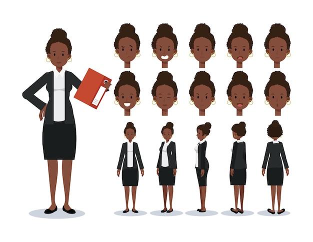 さまざまなビューを持つアフリカ系アメリカ人実業家フラット文字セット