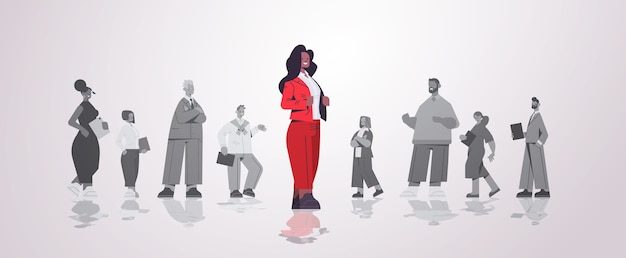 African american businesswoman leader standing in front of businesspeople group leadership business competition concept horizontal   illustration