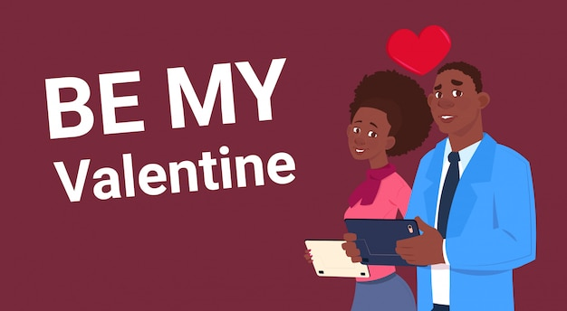 African american couple over be my valentine background love holiday concept