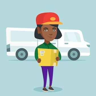 African-american delivery courier holding a box.