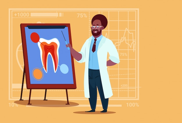 African american doctor dentist looking at tooth on board medical clinics worker stomatology hospital