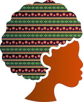 分離されたアフリカ系アメリカ人の顔のシルエットのプロファイルアイコン。髪型の伝統的な装飾を持つ美しい黒人女性。多様性と女性の権利保護の概念、ベクトル図