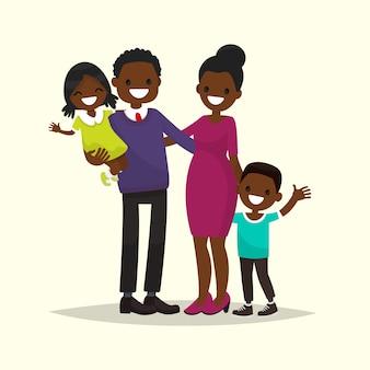 アフリカ系アメリカ人の家族。父、母、息子、娘のイラスト