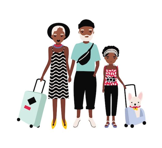 여행에 아프리카 계 미국인 가족